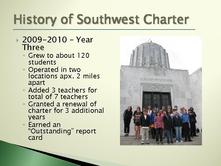 History of Southwest Charter 2009 -2010 – Year Three ◦ Grew to about 120
