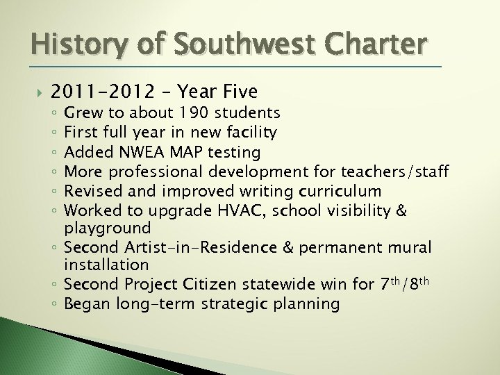 History of Southwest Charter 2011 -2012 – Year Five Grew to about 190 students