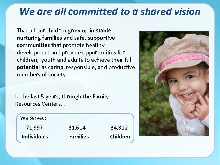 We are all committed to a shared vision That all our children grow up