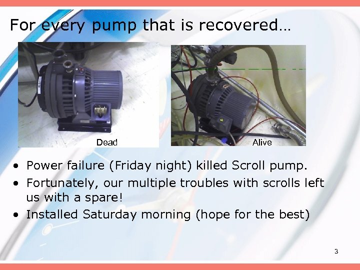 For every pump that is recovered… Dead Alive • Power failure (Friday night) killed