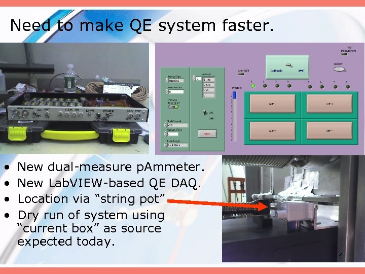Need to make QE system faster. • • New dual-measure p. Ammeter. New Lab.