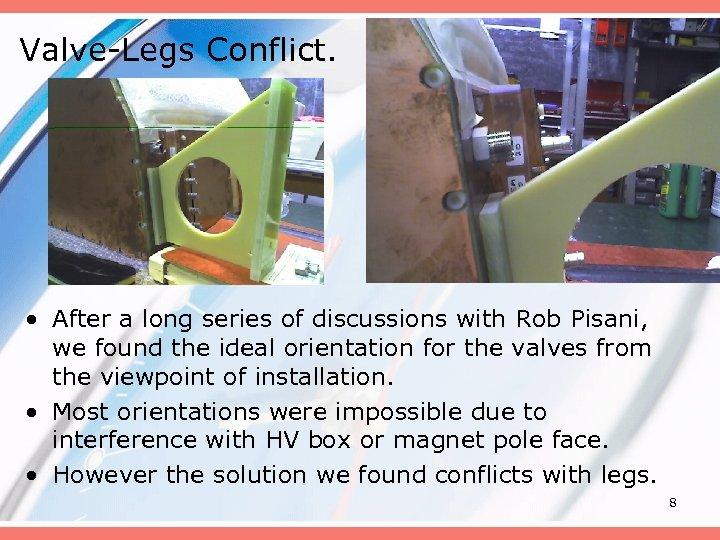 Valve-Legs Conflict. • After a long series of discussions with Rob Pisani, we found