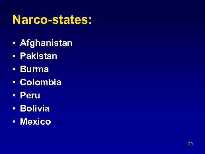 Narco-states: • • Afghanistan Pakistan Burma Colombia Peru Bolivia Mexico 20