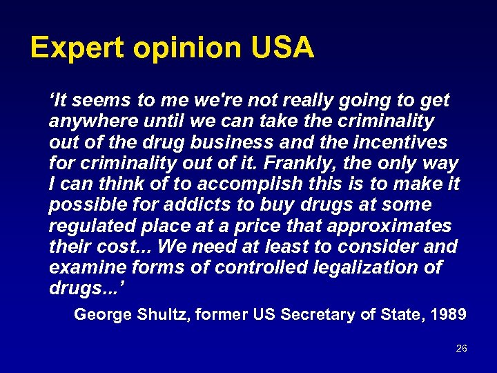 Expert opinion USA 'It seems to me we're not really going to get anywhere