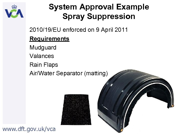System Approval Example Spray Suppression 2010/19/EU enforced on 9 April 2011 Requirements Mudguard Valances