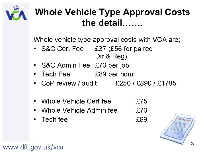 Whole Vehicle Type Approval Costs the detail……. Whole vehicle type approval costs with VCA
