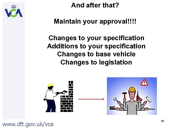 And after that? Maintain your approval!!!! Changes to your specification Additions to your specification