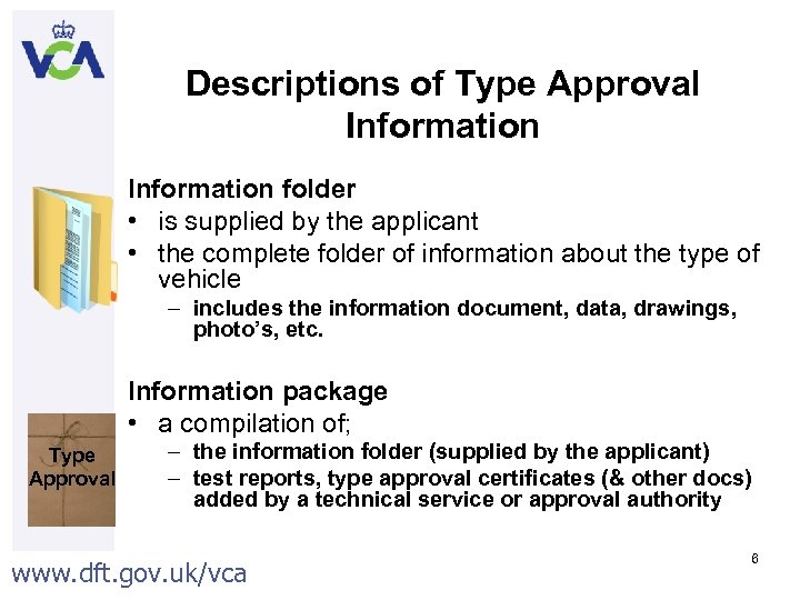 Descriptions of Type Approval Information folder • is supplied by the applicant • the