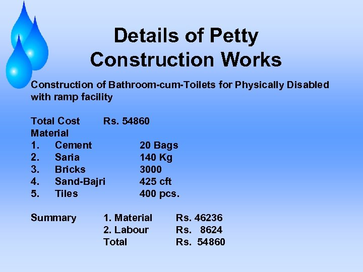 Details of Petty Construction Works Construction of Bathroom-cum-Toilets for Physically Disabled with ramp facility