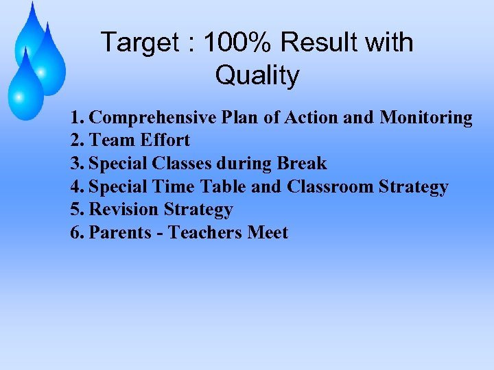Target : 100% Result with Quality 1. Comprehensive Plan of Action and Monitoring 2.