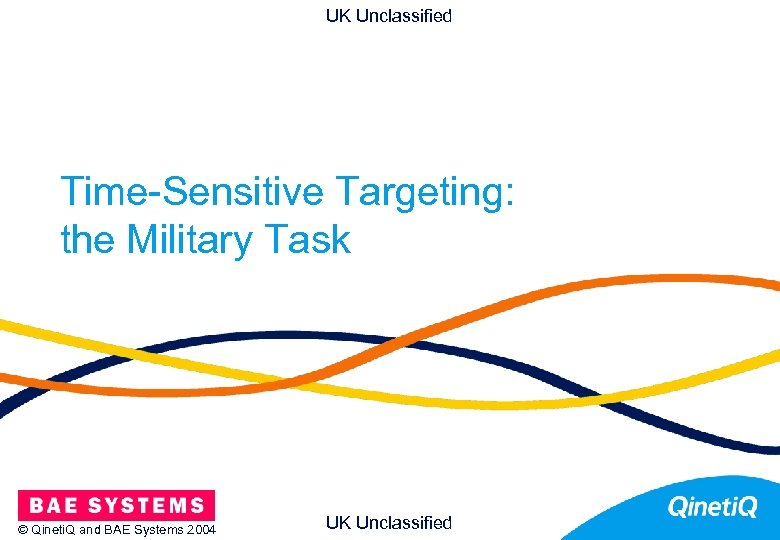 UK Unclassified Time-Sensitive Targeting: the Military Task © Qineti. Q and BAE Systems 2004