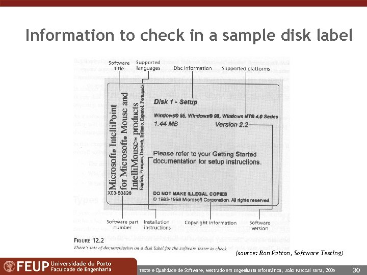 Information to check in a sample disk label (source: Ron Patton, Software Testing) Teste