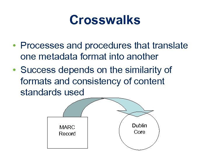 Crosswalks • Processes and procedures that translate one metadata format into another • Success