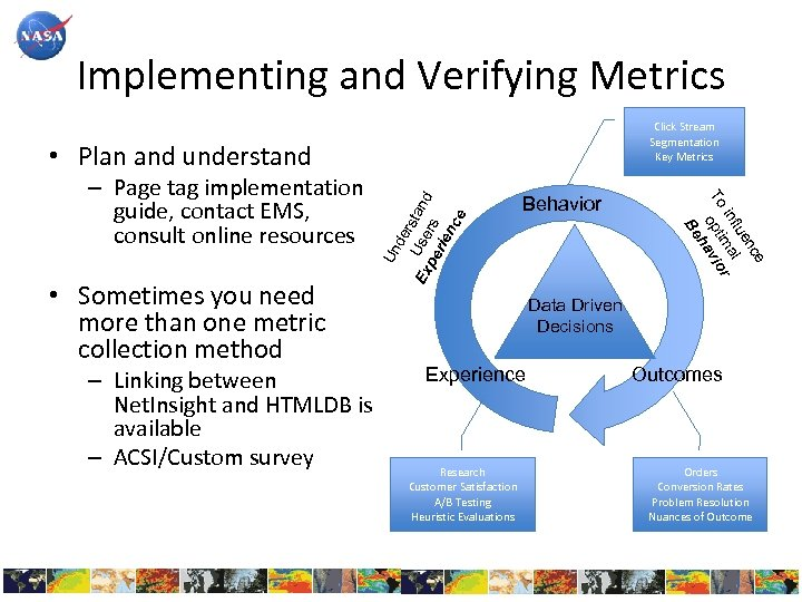 Implementing and Verifying Metrics Click Stream Segmentation Key Metrics • Sometimes you need more