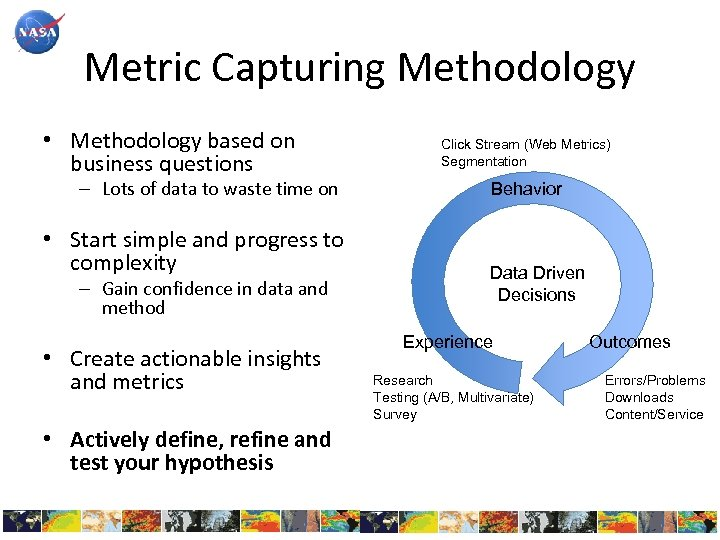 Metric Capturing Methodology • Methodology based on business questions – Lots of data to