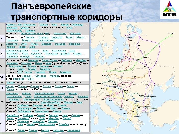 Панъевропейские транспортные коридоры • Север — Юг: Хельсинки — Таллин — Рига — Каунас