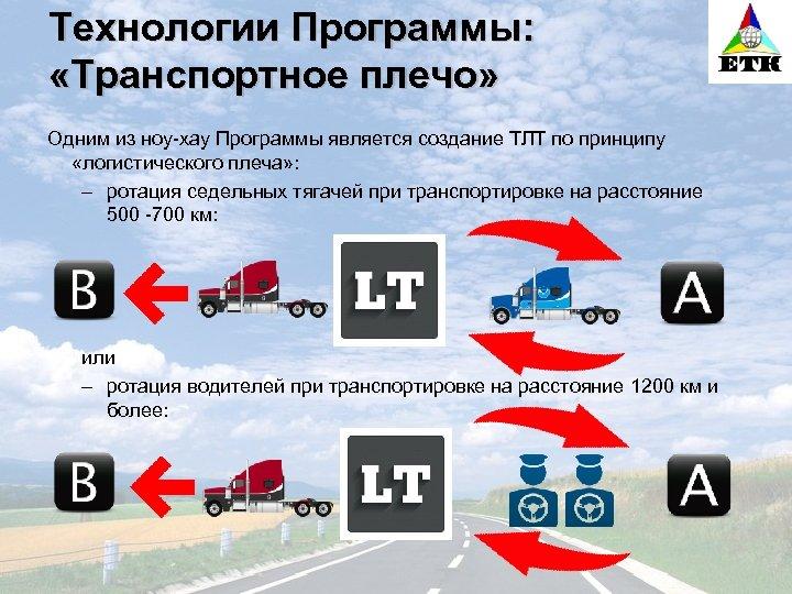 Технологии Программы: «Транспортное плечо» Одним из ноу-хау Программы является создание ТЛТ по принципу «логистического