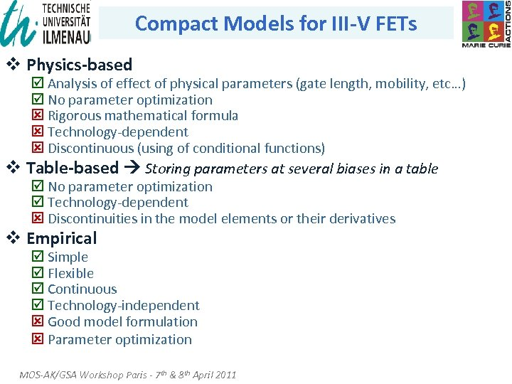 Compact Models for III-V FETs v Physics-based þ Analysis of effect of physical parameters