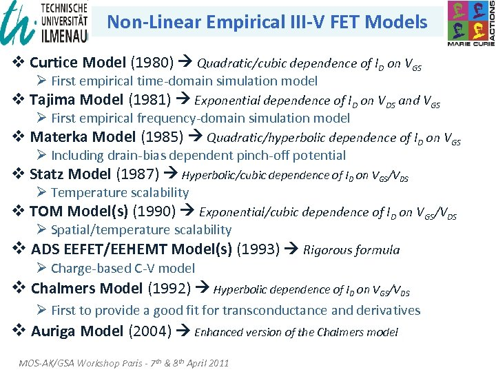 Non-Linear Empirical III-V FET Models v Curtice Model (1980) Quadratic/cubic dependence of ID on
