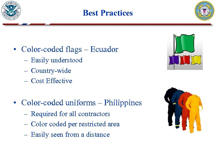 Best Practices • Color-coded flags – Ecuador – Easily understood – Country-wide – Cost