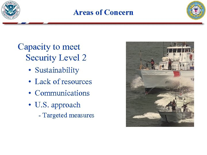Areas of Concern Capacity to meet Security Level 2 • • Sustainability Lack of