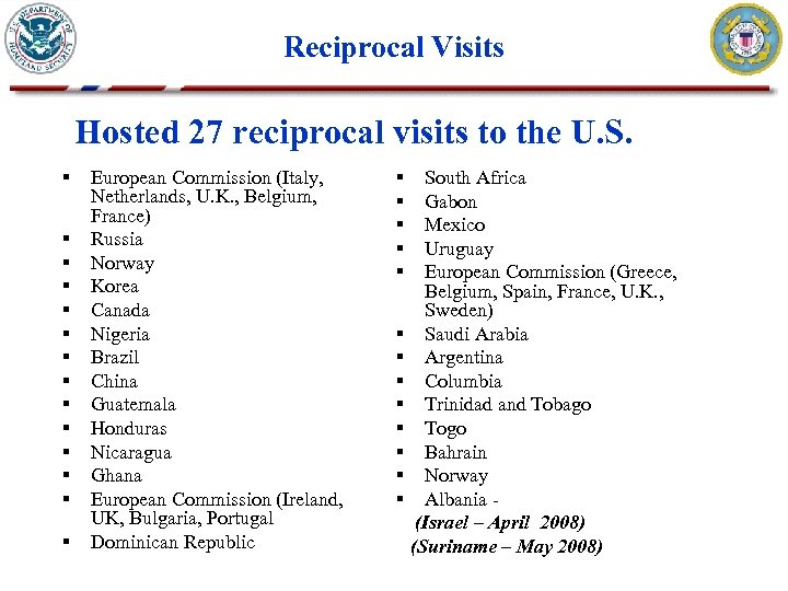 Reciprocal Visits Hosted 27 reciprocal visits to the U. S. § § § §