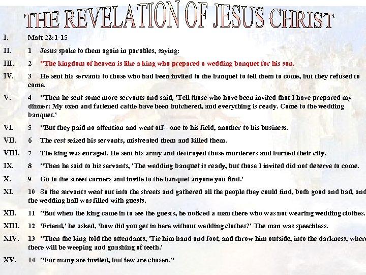 I. Matt 22: 1 -15 II. 1 Jesus spoke to them again in parables,