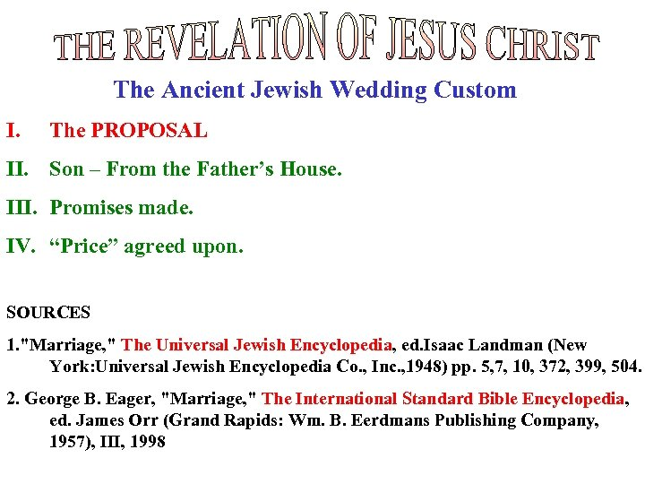 The Ancient Jewish Wedding Custom I. The PROPOSAL II. Son – From the Father's