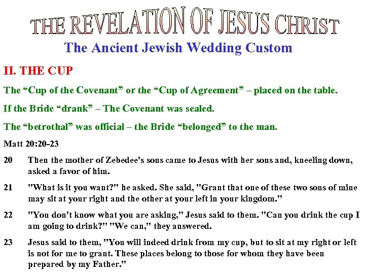 """The Ancient Jewish Wedding Custom II. THE CUP The """"Cup of the Covenant"""" or"""