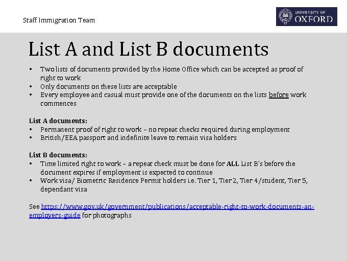 Staff Immigration Team List A and List B documents • • • Two lists
