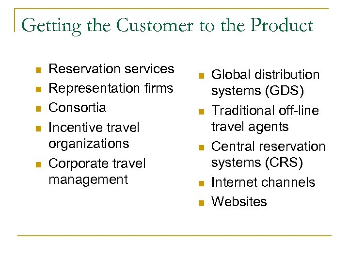 Getting the Customer to the Product n n n Reservation services Representation firms Consortia