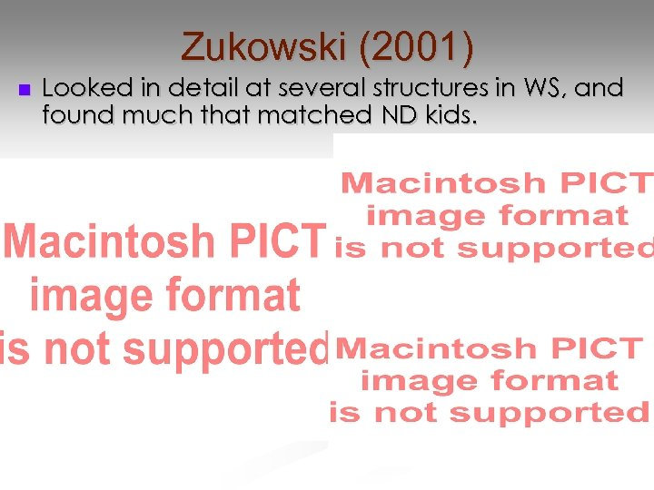Zukowski (2001) n Looked in detail at several structures in WS, and found much