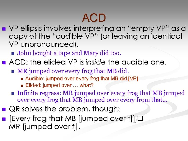 "ACD n VP ellipsis involves interpreting an ""empty VP"" as a copy of the"