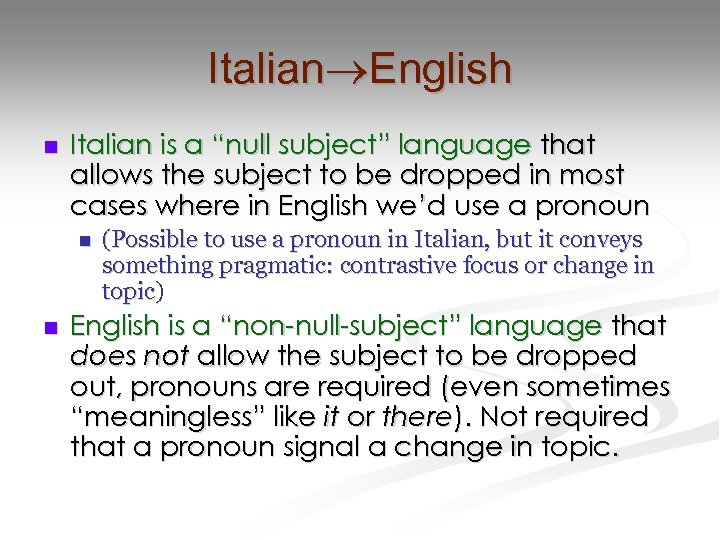 "Italian English n Italian is a ""null subject"" language that allows the subject to"