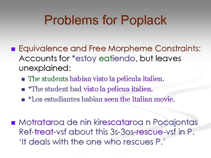 Problems for Poplack n Equivalence and Free Morpheme Constraints: Accounts for *estoy eatiendo, but
