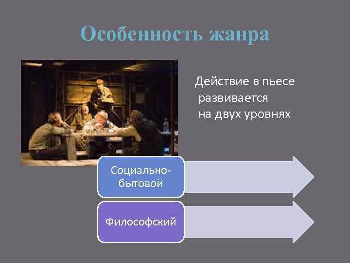 Особенность жанра Действие в пьесе развивается на двух уровнях Социальнобытовой Философский