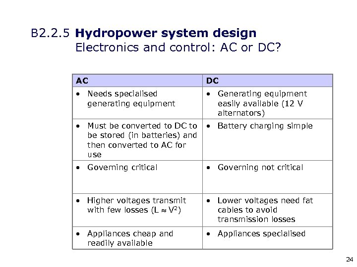 B 2. 2. 5 Hydropower system design Electronics and control: AC or DC? AC