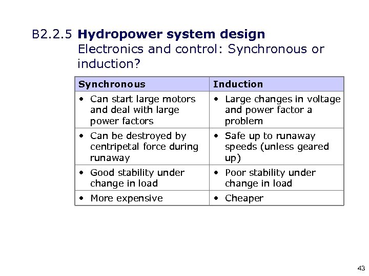 B 2. 2. 5 Hydropower system design Electronics and control: Synchronous or induction? Synchronous