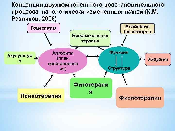 Концепция двухкомпонентного восстановительного процесса патологически измененных тканей (К. М. Резников, 2005) Гомеопатия Биорезонансная терапия
