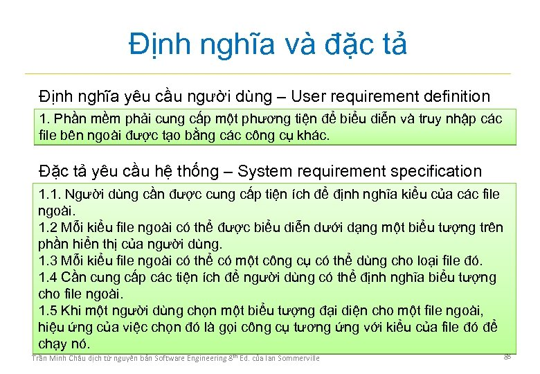 Định nghĩa và đặc tả Định nghĩa yêu cầu người dùng – User requirement