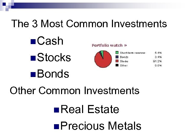 The 3 Most Common Investments n Cash n Stocks n Bonds Other Common Investments