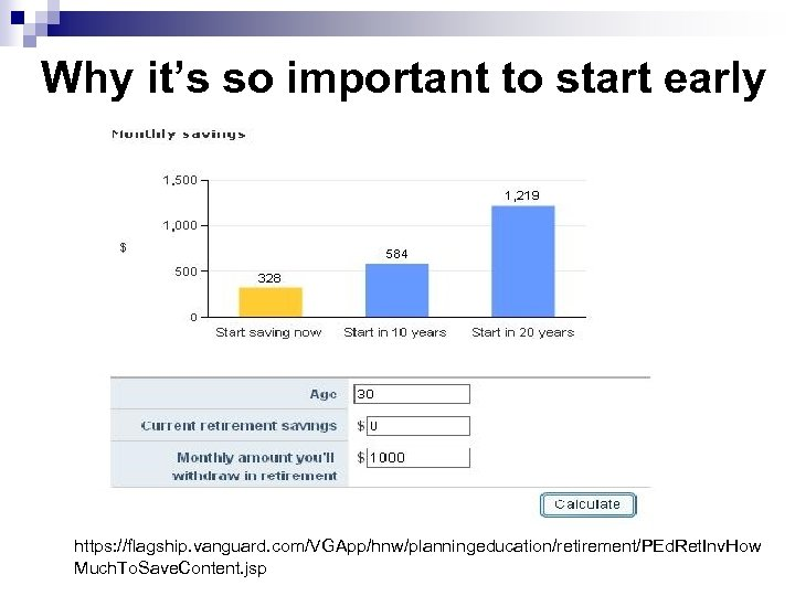 Why it's so important to start early https: //flagship. vanguard. com/VGApp/hnw/planningeducation/retirement/PEd. Ret. Inv. How