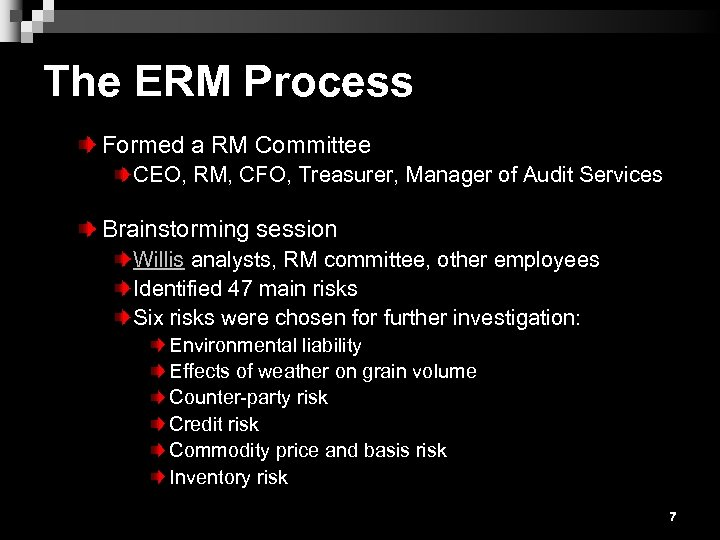 The ERM Process Formed a RM Committee CEO, RM, CFO, Treasurer, Manager of Audit