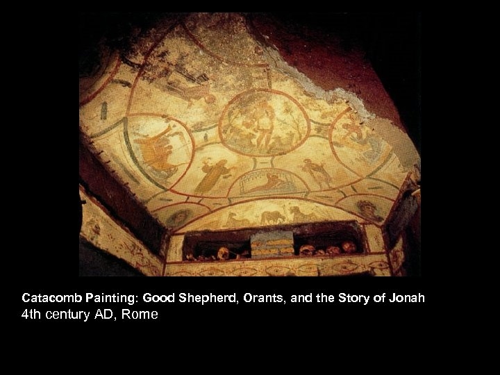 Catacomb Painting: Good Shepherd, Orants, and the Story of Jonah 4 th century AD,