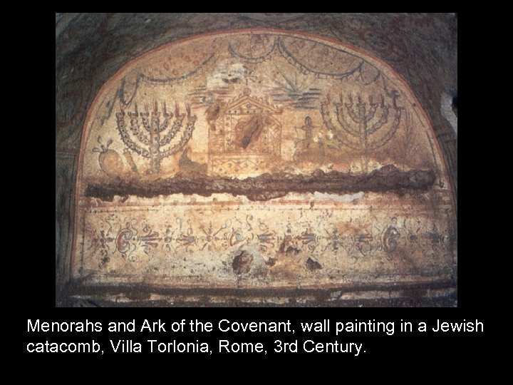 Menorahs and Ark of the Covenant, wall painting in a Jewish catacomb, Villa Torlonia,