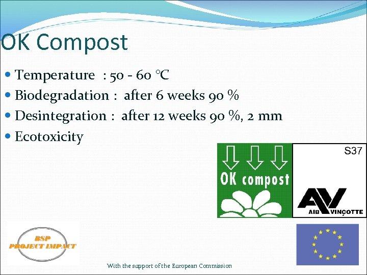 OK Compost Temperature : 50 - 60 °C Biodegradation : after 6 weeks 90