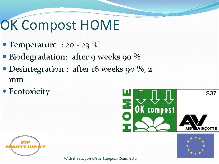 OK Compost HOME Temperature : 20 - 23 °C Biodegradation: after 9 weeks 90