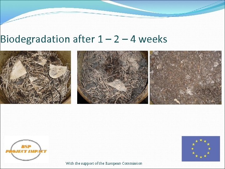 Biodegradation after 1 – 2 – 4 weeks With the support of the European