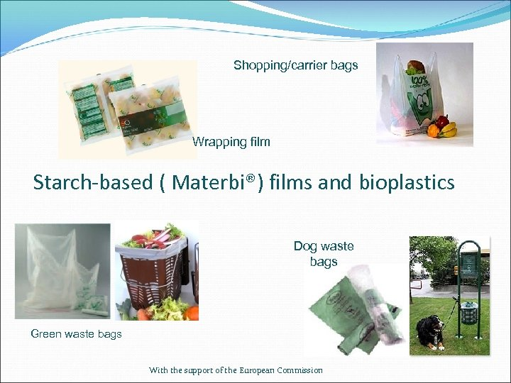 Shopping/carrier bags Wrapping film Starch-based ( Materbi®) films and bioplastics Dog waste bags Green