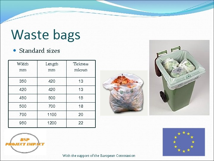 Waste bags Standard sizes Width mm Length mm Tickness micron 350 420 13 450